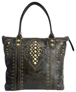 FRYE 100% Leather Phoenix Studded Deco Tote Bag color Pewter