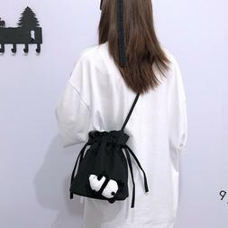 1PC Mini Canvas Crossbody Bag Small Cute Drawstring Shoulder