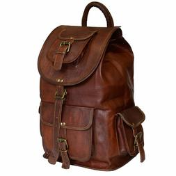22 Inch Leather Large Backpack for Men Women Handmade Crossb