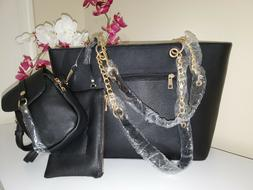 Deluxity 3 Pc. Set: Large Tote Bag, Crossbody Bag & Wristle