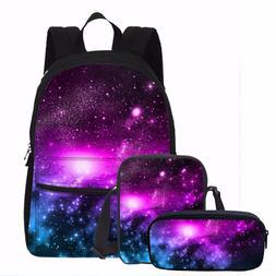 3PC Galaxy Design Rucksack Canvas Backpack Crossbody Bag Cos