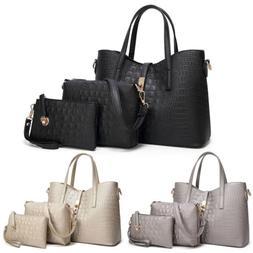 3Set  Women Handbag Handle Purse Tote Shoulder Bag Pu Leathe