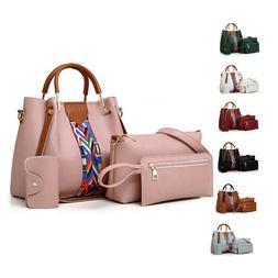 4 Pcs Leather Handbag Cross Body Shoulder Bag Purse Card Bag