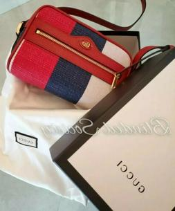 $950 Gucci Ophidia Washed Cotton Mini Crossbody Bag Red Leat