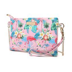 Aitbags Leather Crossbody Bag for Women Flamingo Printed Wri