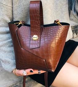 Alligator inspired vegan leather bucket bag, shoulder, cross