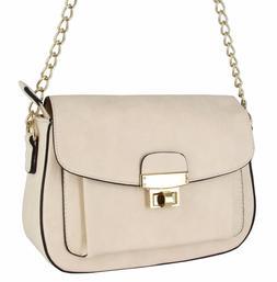 Alyssa Collection Women  Large Flap Cross-Body Bag Handbag P