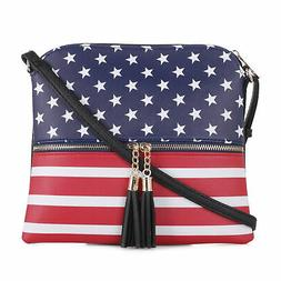 Deluxity American Flag Lightweight Medium Crossbody Bag with