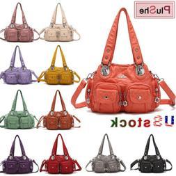 Angelkiss Brand Women's Washed Soft Leather Handbag Purse Gi