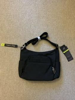 Travelon Anti-Theft Black Classic Crossbody Bucket Bag RIFD