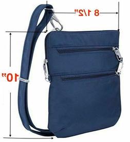 Travelon Anti-Theft Classic Slim Dbl Zip Crossbody Bag Midni