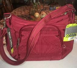 Travelon Anti-Theft CrossBody Bucket Bag Cranberry RFID Bloc