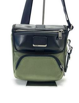 Tumi Barton Small Crossbody Bag Tundra Green Black Leather T