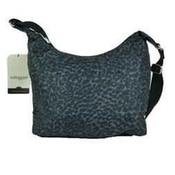 Baggallini Big Clipper Black Cheetah Hobo Travel Shoulder Cr