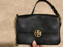 Black Tory Burch Leather Crossbody Gold Clutch Shoulder Bag