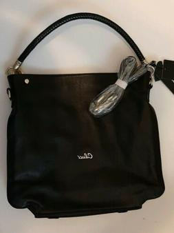 Cluci Black Leather Handbag Purse Tote Satchel Shoulder Cros