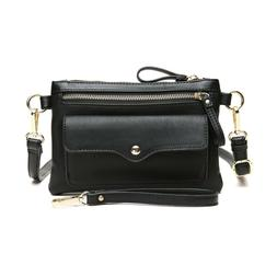 Aitbags Black leather small flap Crossbody bag wallet wristl