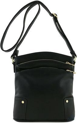 Black Triple Zip Pocket Large Crossbody Bag Alyssa