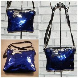 BLUE/SILVER SEQUINS MESSENGER BAG PURSE CROSSBODY SHOULDER S