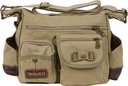 EuroSport Cargo Sling Khaki  Canvas Bag B420  New Messenger