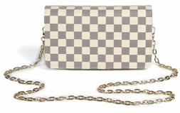 Daisy Rose Checkered Cross body bag - RFID Blocking with Cre