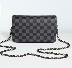 Daisy Rose Checkered Cross body bag - RFID Blocking- BLACK,