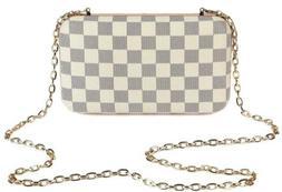 Daisy Rose Checkered Minaudiere Evening bag - RFID Blocking