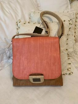 CLEARANCE - Liz Soto Coral/Taupe Crossbody/Shoulder Bag