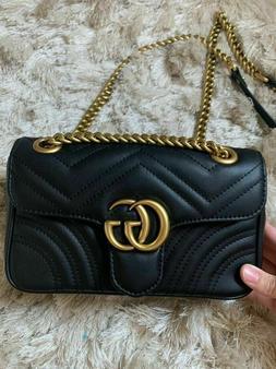 ~Gucci`` crossbody `bag `GG ``Logo ~Gold~ leather ^black~