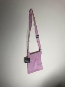"""Crossbody Bag, Polyester Pink 8"""" x 9"""" Front side-to-side Zip"""