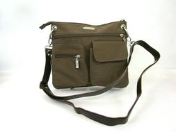 Baggallini Crossbody Bag Purse Taupe Brown Blue Liner Nylon