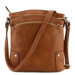 Crossbody Bag Triple Zip Pocket Large Brown