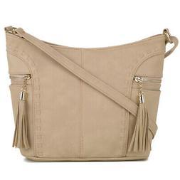 DELUXITY   Crossbody Hobo Slouch Bucket Bag   Side Pockets w