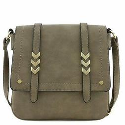 Double Compartment Large Flapover Crossbody  Bag