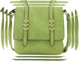 Double Compartment Large Flapover Crossbody Bag Apple Green