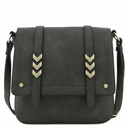 Double Compartment Large Flapover Crossbody Bag Charcoal Gre