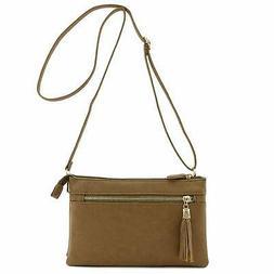 Double Compartment Wristlet Crossbody Bag with Tassel Zipper