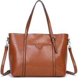 Dreubea Women's Soft Leather Handbag Big Capacity Tote Sho