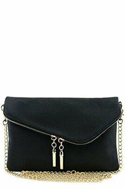 Envelope Wristlet Clutch Crossbody Bag with Chain Strap Blac