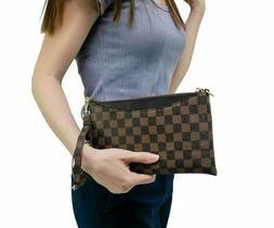 fashion crossbody checkered bag for women leather
