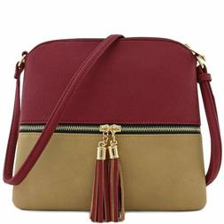 Fashion Women Crossbody Tassel Zip Handbag Women's Purse Sho