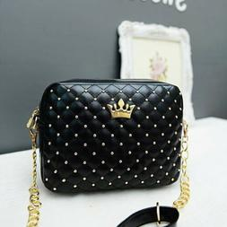 Fashion Women's Quilted Black Chain Bag Leather Shoulder Bag