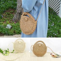 Fashion Women Straw Bag Woven Round Handbag Purse Crossbody