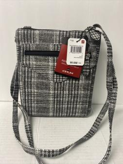 Mundi Felicia Crossbody Purse Bag Black/White Plaid Includes