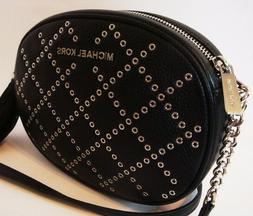 Michael Kors Ginny Medium Black Leather Studded Grommet Cros
