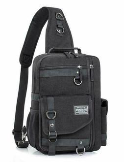 H Hikker-Link Mens Canvas Messenger Bag Laptop Sling Backpac