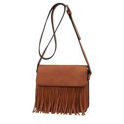 Isabelle Faux Leather Fringe Tassels Crossbody Bags