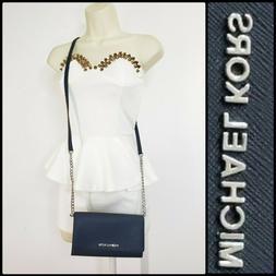 Michael Kors Jet Set Travel Woman Crossbody Bag Leather Blue