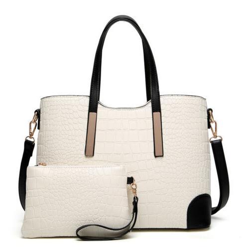 2pcs Women's PU Satchel Purses Handbags Tote