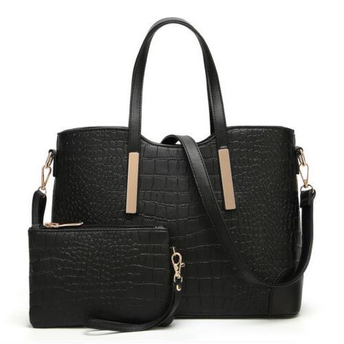 2pcs Women's PU Leather Satchel Purses Handbags Shoulder Tote Bags Wallets